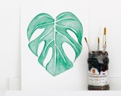 Monstera Deliciosa leaf print, watercolor drawing, botanical print, green illustration, nature, interior, urban jungle