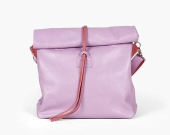 Chandler Viola - Handmade Leather Bag  / Lilac Handbag / Lilac Lunch Bag / Violet Clutch / Lilac Crossbody Bag