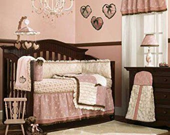 CoCaLo Daniella Bedding Crib Set, immaculate condition bed skirt, mobile, quilt, bumper pads, and window valance