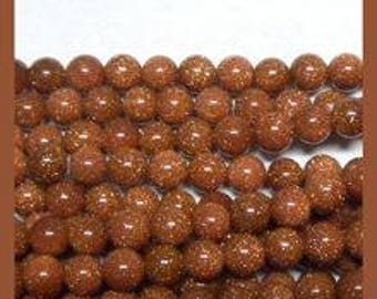 Goldstone (Glass) Rounds - 6mm - 15 to 16 inch strand