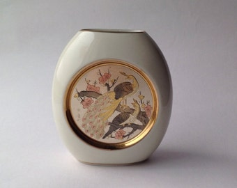 Japanese Chokin Vase with Peacock Design 24K Gold Detail