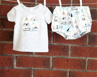 Baby boy clothes, baby cotton diaper cover, Art Gallery fabric,  two piece set boys, tshirt and nappy cover, baby shower gift boys