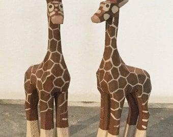 Hand Carved Wooden Giraffe's