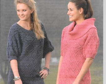 UK new original Wendy knitting pattern for short sleeved long jumper / tunic.  To fit size 30 - 42 ins
