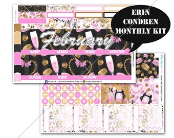 Valentines Day Stickers MONTHLY Planner Kit, for Erin Condren Stickers, Life Planner Sticker, Monthly Sticker Kit, Vday kit #SQ00223-EC
