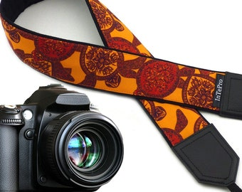 Camera strap Turtle. Red and orange DSLR camera strap. Stylized padded camera straps. Finds by InTePro