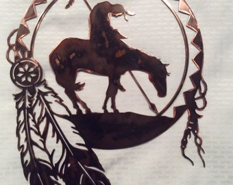 Plasma Cut End Of Trail Dream Catcher Metal Wall Art - native american, western, indian art, horses, feathers, farm and ranch, country