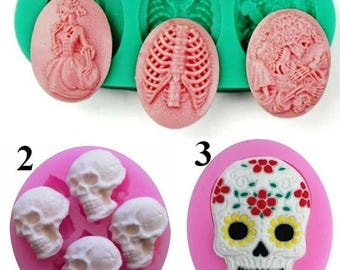 Halloween Witch Skeleton Skull Styling Fondant Cake Decorating Silicone Baking Tools Candy Jelly Mold