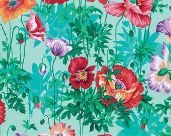 Snow Leopard Poppies in Spring Green cotton fabric by Philip Jacobs