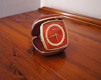 Vintage travel elegant alarm clock Coral - working.