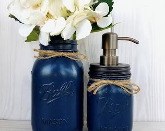 2 Piece Mason jar bathroom set. Soap dispenser and Vase. Guest Bathroom Decor.