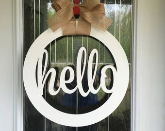 Hello door hanger, hello sign, front door decor, door hanger, hello, wooden door hanger, wooden sign