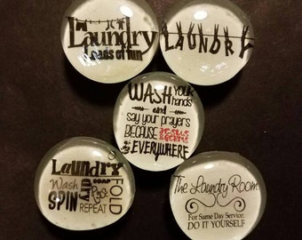 Set of 5 Strong Glass Laundry Magnets, laundry service, wash, germs, clean, Refrigerator Magnets, Fridge Art, Kitchen, Office Decor