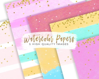 Digital paper watercolour, rainbow gold foil digital paper, Modern rainbow print, Digital Paper Commercial use, Watercolor backgrounds