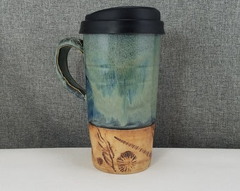 IN STOCK* Handmade Travel mug / Commuter mug with silicone lid - Coral Blue / Actual Shells