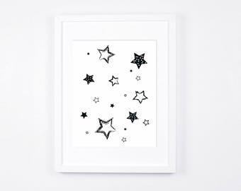 Black and White Nursery Art Printable, Stars Art, Modern Wall Art, Monochrome Nursery Digital Print, Scandinavian Baby Room Decor