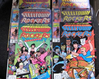 Original/Official 1990 Vintage Set of 6 MARVEL STEELTOWN ROCKERS comics