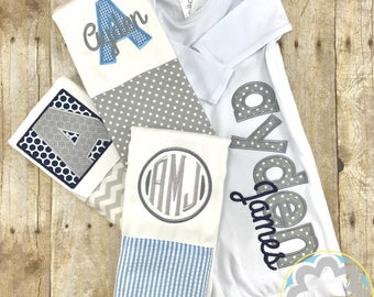 Baby Boy Gift Set - Grey and Blue Monogrammed, Personalized Infant Gown and Burp Cloth Set - Baby Gift - Baby Shower Gift