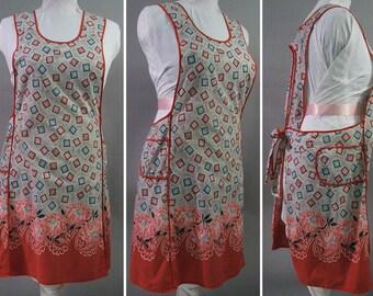 Vintage 40s Pink & Floral Print Full Wrap Apron