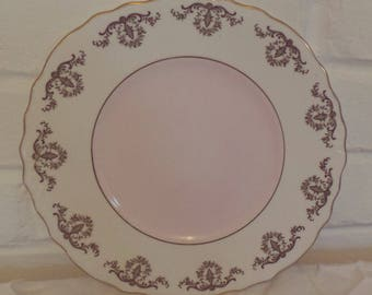 Stunning Vintage Royal Vale English Bone China Baby Pink and Gold Floral Detail Bone China Cake Plate-Perfect for afternoon tea