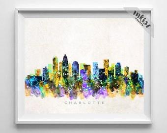 Charlotte Skyline Print, Watercolor Art, North Carolina Skyline, Wall Art, Cityscape, Home Decor, City Poster, Dorm Decor