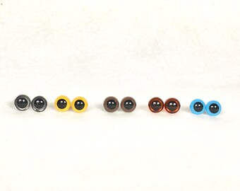 9mm plastic Eyes one pair, Safety Eyes for Stuffed Animals,  2 eyes and 2 washers, your choice of available colors