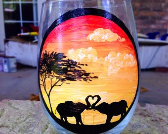 Stemless painted glass
