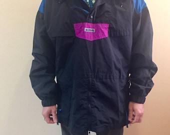 Vintage color block 90s COLUMBIA hooded pullover ski jacket // size L