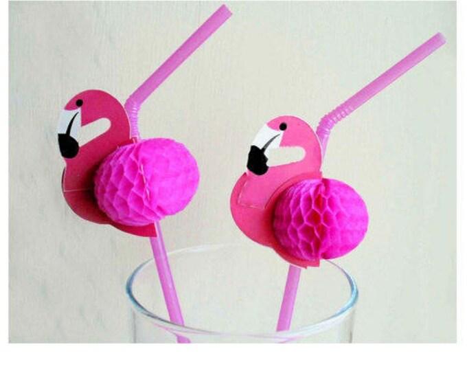 Flamingo Straws, Pink Flamingo Party Straws, Flamingo Party Decor, Flamingo Drinking Straws,