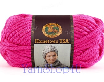 NEON PINK, Lion Brand Hometown USA, Bright Pink, Super Bulky Pink, Chunky pink Acrylic yarn, Thick pink yarn, 5 oz, Made in usa, Florescent