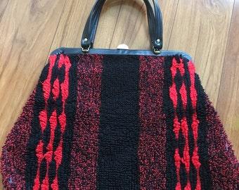 Vintage 1960's extra large red and black carpet bag