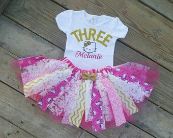 Hello Kitty first birthday second birthday, third birthday gold pink, everyday outfit!