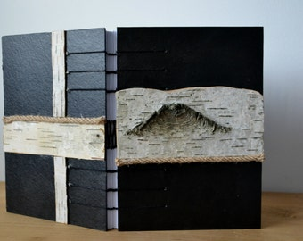 Birch bark coptic stitched journal/ One of a kind journal/ Unique rustic diary/Black journal with birch bark and rope details/Travel journal