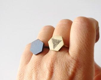 geometric engraved ring, black ring, adjustable minimalist ring, triangle ring