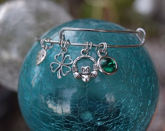 St. Patrick's Day Charm Bracelet, Adjustable Bracelet, Four Leaf Clover, Claddagh