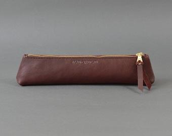 Handmade Burgundy Leather LeadorDead Pencil Case.
