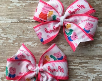 Peppa Pig Pigtail Hairbow Set- Peppa Pig Bow - Peppa Pig Party- Peppa Pig Birthday