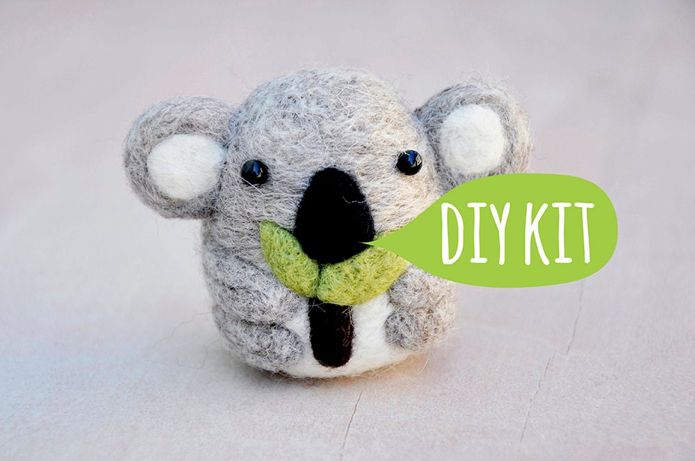Needle felting starter kit koala bear needle felting kit for Dog crafts for adults