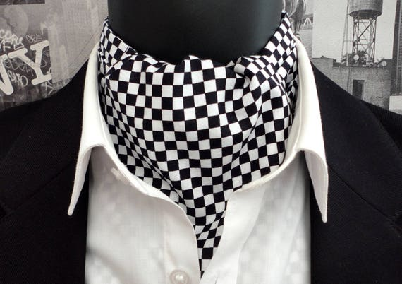 Cravat, reversible cravat, chequered and black with white spots, ascots for men