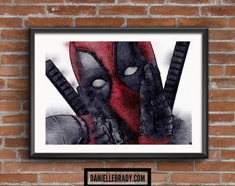 Deadpool Digital Art Watercolour Printable Art Downloadable Print