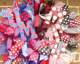 Ole Miss Wreath, Mississippi State Wreath, College Wreath, College Door Wreath, House Divided Wreath, Football Wreath