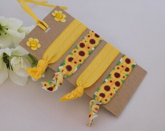 Sunflower Hair Ties - Yellow FOE - Party Favors - Gift for Her