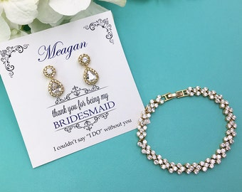 Gold Bridesmaid Earrings Set, Gold Bridesmaid Bracelet Earrings Set, Bridesmaid Jewelry Gift, Personalized bridesmaid jewelry set469725772