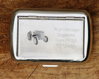 Grey Fergie Hand Rolling Tobacco Cigarette Tin Tractor FREE ENGRAVING Gift