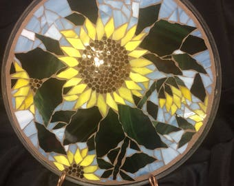 """12 1/2"""" Stained Glass Mosaic Plate--Sunflowers"""