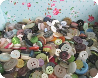 Bulk Buttons, Different colors, Different sizes, Supplies for Knitting Patterns, Crochet, Collage, Scrapbooking, Button Art