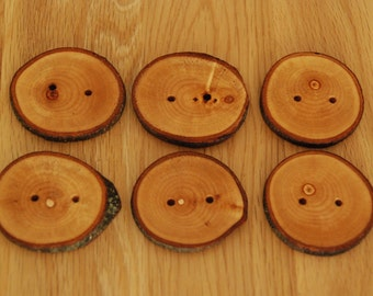 6 Handmade Wooden Buttons 45-50mm With Bark Tree Branch Buttons Sewing Knitting Craft UK Seller