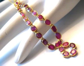 """Vintage 18K Gold with RUBIES Necklace 15"""" Choker Chain 5.1g"""