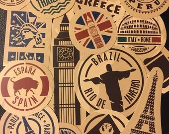 travel luggage sticker travel sticker hipster sticker Art Sticker sticker London Eiffel Paris brazil france italy espana spain sticker pack