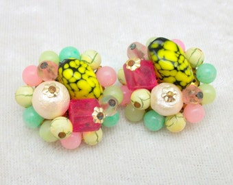 Bright Glass Beaded Clip-on Earrings - Vintage 50's Japan